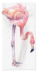 Flamingo Painting Watercolor Hand Towel by Olga Shvartsur