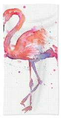 Flamingo Watercolor Hand Towel by Olga Shvartsur