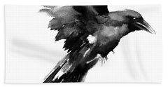 Flying Raven Hand Towel by Suren Nersisyan
