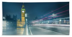 Foggy Mist Covered Westminster Bridge Hand Towel by Martin Newman