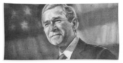 Former Pres. George W. Bush With An American Flag Hand Towel by Michelle Flanagan