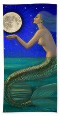 Full Moon Mermaid Hand Towel by Sue Halstenberg