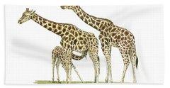 Giraffe Family Hand Towel by Juan Bosco