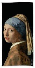 Girl With A Pearl Earring Hand Towel by Jan Vermeer