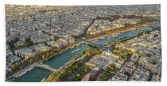 Golden Light Along The Seine Hand Towel by Mike Reid