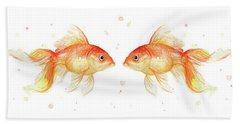 Goldfish Love Watercolor Hand Towel by Olga Shvartsur