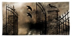 Gothic Surreal Fantasy Ravens Gated Fence  Hand Towel by Kathy Fornal