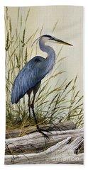 Great Blue Heron Splendor Hand Towel by James Williamson