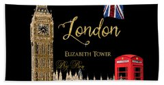 Great Cities London - Big Ben British Phone Booth Hand Towel by Audrey Jeanne Roberts