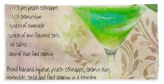 Green Angel Mixed Cocktail Recipe Sign Hand Towel by Mindy Sommers