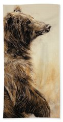 Grizzly Bear 2 Hand Towel by Odile Kidd