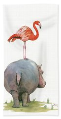 Hippo With Flamingo Hand Towel by Juan Bosco