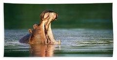 Hippopotamus Hand Towel by Johan Swanepoel