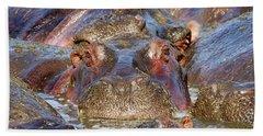 Hippopotamus Hand Towel by Richard Garvey-Williams
