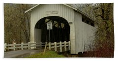 Historic Harris Covered Bridge Hand Towel by Adam Jewell