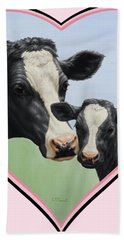 Holstein Cow And Calf Pink Heart Vegan Hand Towel by Crista Forest