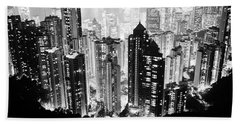 Hong Kong Nightscape Hand Towel by Joseph Westrupp
