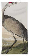 Hooping Crane Hand Towel by John James Audubon