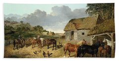Horses Drinking From A Water Trough, With Pigs And Chickens In A Farmyard Hand Towel by John Frederick Herring Jr