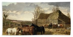 Horses Eating From A Manger, With Pigs And Chickens In A Farmyard Hand Towel by John Frederick Herring Jr