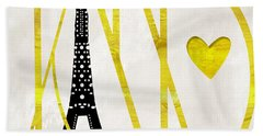 I Love Paris Hand Towel by Mindy Sommers