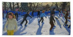 Ice Skaters At Christmas Fayre In Hyde Park  London Hand Towel by Andrew Macara