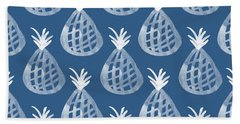 Indigo Pineapple Party Hand Towel by Linda Woods