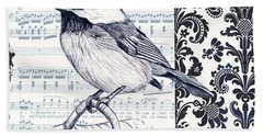 Indigo Vintage Songbird 2 Hand Towel by Debbie DeWitt