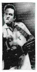 Johnny Cash Rebel Vertical Hand Towel by Tony Rubino