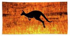 Kangaroo Sunset Hand Towel by Bruce J Robinson