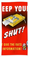 Keep Your Trap Shut -- Ww2 Propaganda Hand Towel by War Is Hell Store