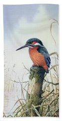 Kingfisher Hand Towel by Carl Donner