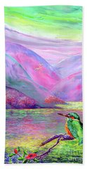 Kingfisher, Shimmering Streams Hand Towel by Jane Small