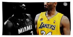 Kobe Bryant And Dwyane Wade 2 Hand Towel by Brian Reaves