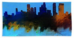 Los Angeles Blue And Gold Skyline Hand Towel by Enki Art