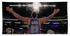 Lebron James Chalk Toss Basketball Art Landscape Painting Hand Towel by Andres Ramos