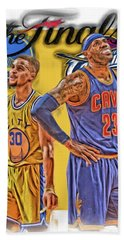 Lebron James Stephen Curry The Finals Hand Towel by Joe Hamilton