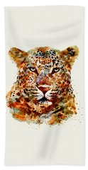 Leopard Head Watercolor Hand Towel by Marian Voicu