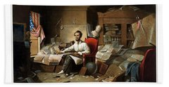 Lincoln Writing The Emancipation Proclamation Hand Towel by War Is Hell Store