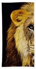 Lion Art - Face Off Hand Towel by Sharon Cummings