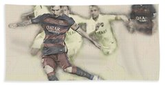 Lionel Messi Scores A Penalty Kick Against Levante  Hand Towel by Don Kuing