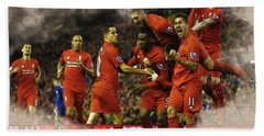 Liverpool V Leicester City Hand Towel by Don Kuing