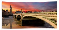 London Sunset Hand Towel by Adrian Evans