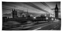 London Westminster Bridge Traffic Hand Towel by Melanie Viola