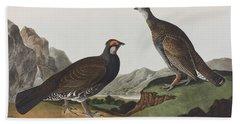 Long-tailed Or Dusky Grous Hand Towel by John James Audubon