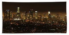 Los Angeles At Night Panorama 2 Hand Towel by Bob Christopher