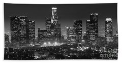 Los Angeles At Night Panorama 3 Hand Towel by Bob Christopher