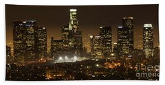 Los Angeles At Night Panorama 4 Hand Towel by Bob Christopher