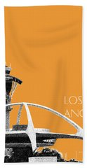 Los Angeles Skyline Lax Spider - Orange Hand Towel by DB Artist