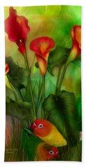Love Among The Lilies  Hand Towel by Carol Cavalaris